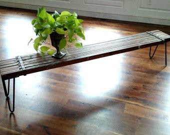 Vintage Industrial Bench : Painters Plank / Hairpin Legs / Repurposed