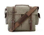 Camera Bag / Messenger Bag / Shoulder Bag / Green Canvas / TRAIL