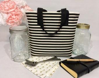 Mason Jar Carrier Bag - Quart 2-jar Jars to Go - Black stripe with arrows lunch tote cozy
