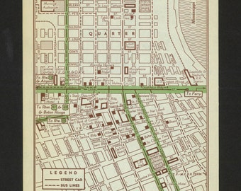 Vintage Map New Orleans Louisiana Original 1951