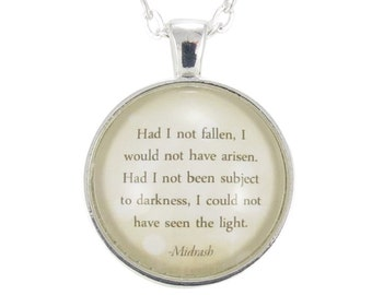 Inspirational Quote Necklace Pendant, Midrash Hebrew Motivational Jewelry (1472S1IN)