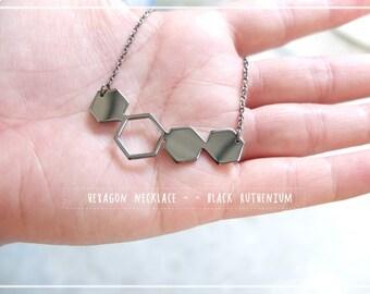 Hexagon Necklace, Geometric Necklace, honeycomb, black ruthenium, simple, minimal geometric jewelry,  ,mother, X'mas gift