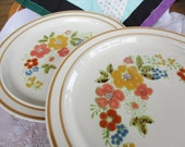 1970s Retro Sweet Flowers 305 Stoneware Dinner Plates 10.75 inches  Very Good Set of 2 included