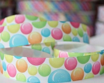 "7/8"" 22mm Balloons Grosgrain Ribbon-by yard Craft Supplies-Hair Bows-Scrapbook-tape-pink-orange-blue-green-Baby Headband"