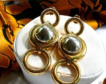 Dangle Earrings - Vintage 1960's Earrings - Gold Tone Earrings - Hoop Drop Earrings - Chunky Large Earrings - Modernist Studs - Hippie