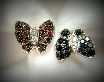Reduced -- Genuine 1 cttw DIAMOND and 14k Gold TWIN BUTTERFLY Ring -- Black and Brown Diamonds Set in 14k White Gold -- Size 7/Adjustable