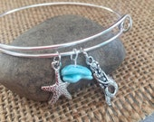 Sterling silver bangle charm bracelet. mermaid ocean life