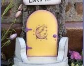 Fairy Door, Fairy Garden, Wall, tree, Garden Decor, Gifts for her, Birthday, Yellow,Outdoor, Housewarming, Mothers Day, moon face, Wholesale