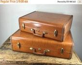 ON SALE Vintage Pair Brown Samsonite Luggage Suitcase
