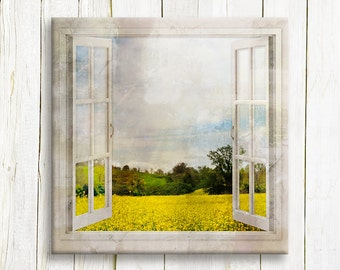 Window view Tuscany mustard fields - art print on canvas - housewarming gift