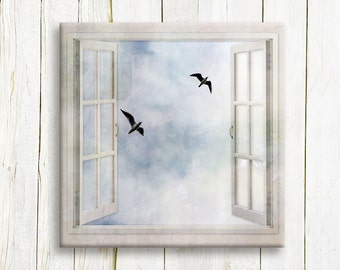 A couple of seagulls in a window view - art print on canvas - housewarming gift