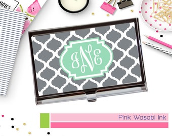 Business Card Holder Personalized Business Card Holder Monogrammed Card Case Custom Card Holder Choose Colors