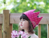 reserved for G.l - Kid Pretend & dress-up Crown birthday hat- pink dots and stripes