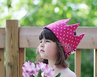 Kid Pretend & dress-up Crown birthday hat- pink dots and stripes