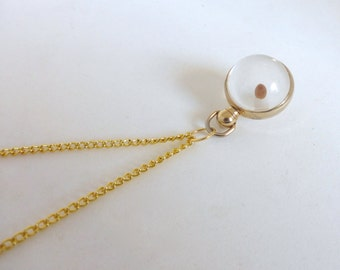 1950's Gold and Lucite Sphere Mustard Seed Amulet Pendant Necklace (2)