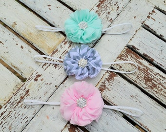 Set of Three Chiffon Headbands- Girls Headband- Rosette Headband- Baby Headband-