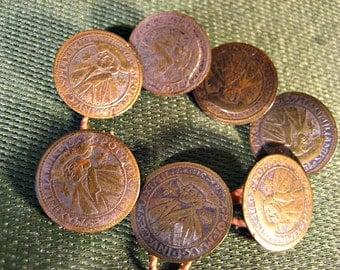 Set of 7 Antique Brass Buttons Austrian King Maximilianius