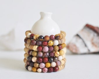 Bracelet / Mookaite + Natural Coconut Shell Bracelet / Multi-Color Jasper /  KO-MALA Mala / Healing Crystals / Ready to Ship / Blacktop