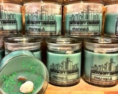 Mermaid triple scented natural soy candle with wood wick and gift box.