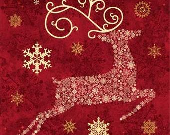 Northcott Christmas panel. Cranberry Red Reindeer. Metallic.