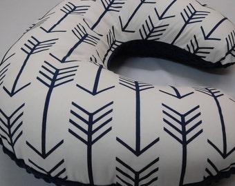 Reserved for Michelle, White/Navy Blue Arrow-Nursing slipcover,  Nursing pillow cover, Navy Minky backside (we don't sell boppy pillow)