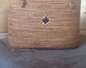 Vintage Woven Wicker Straw Basket Purse, Boho Handbag