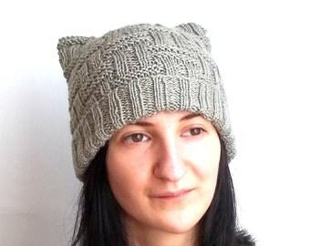 SALE - 20% OFF! Knit Cat Ears Hat. Knit Head Hat. Knitted Head Warmer. Winter Knitted Hat. Women Fashion Hat.