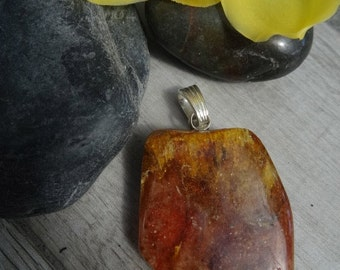 Natural Amber pendant. Sterling silver pendant bail.