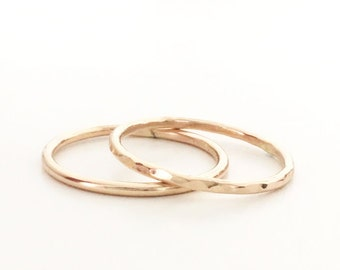 Gold Stacking Rings,  14k Gold Filled, Dainty Ring, Simple, Minimal, Hammered