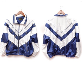 80s Navy Blue White Nautical Windbreaker Women's XL