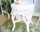 Vintage White Stool Shabby Chic Funiture Foot Stool Wicker Side Table Home Decor Vanity Wedding Decor Girls Room