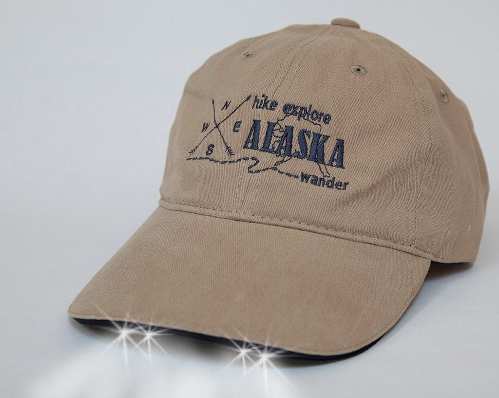 hiking alaska state baseball hat with built in flashlight