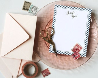 Thank You Note | Gold Foil Navy Stripes | Boxed Notecards | Gift for Her | Mother's Day | Set of 10 Notecards | Calligraphy | Ready to Ship