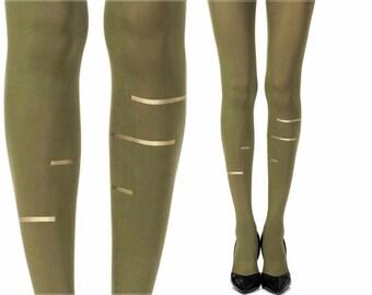 Opaque green tight Gold lines print tights Fashion Tights Zohara Tights Tattoo Tights Free Shipping F327-EG