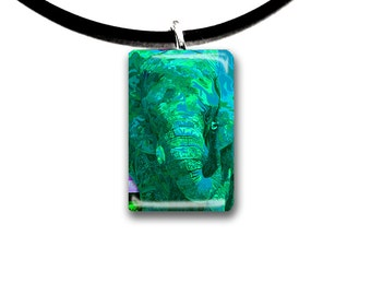 aqua mint green, elephant pendant, hand painted unique artwork, Glass tile pendant, green and mint colors