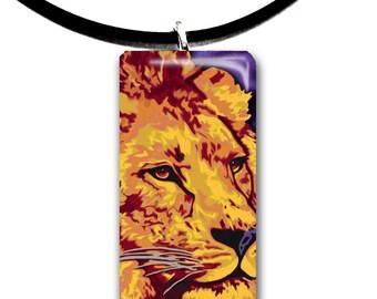 golden Lion, art pendant, handmade jewelry, kid friendly animal art, glass tile pendant, purple and gold color