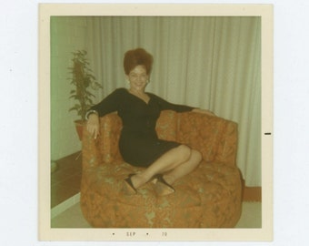 Red Haired Woman in Armchair, 1970 Vintage Snapshot Photo (66475)