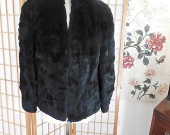 Vintage 70s Black Rabbit Fur Short Jacket NWT