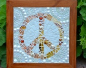 Golden peace sign framed glass mosaic wall hanging