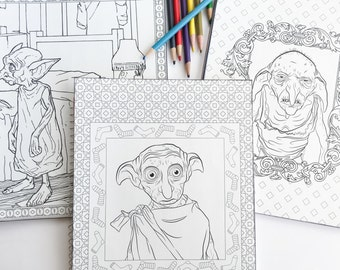 Harry Potter adult coloring book notebook with Dobby and Kreacher