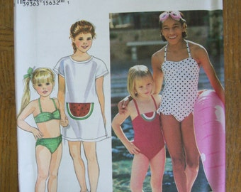 Simplicity 9071, Child's Swimsuits, Girls Swimsuit,