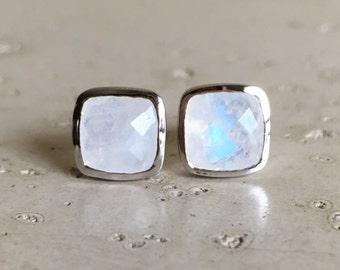 Square Moonstone Earrings- Rainbow Moonstone Stud Earring- June Birthstone Earring- Classic Cushion Stud Earring- Simple Moonstone Earring