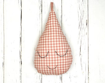 Cute raindrop pillow for baby girls and boys - pastel pink checked fabric, hand embroidered, Christmas gift
