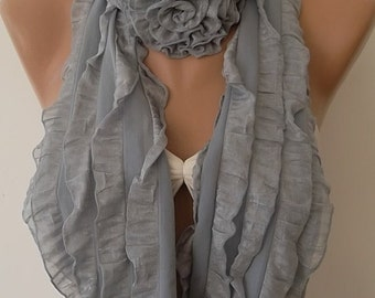 Gray Ruffle Loop Scarf Roses Scarf Grey Scarf Chiffon Scarf Fashion accessories Trending Item For Her Christmas Gift Holiday Gift