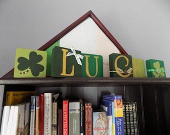 St Patricks Day Block Set Stacking Blocks Irish Decor Wood Block Art Home Accents