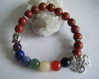 Spiritual Inspirational Healing Chakra Mala Red Jasper Bracelet Wellness Oneness Cosmic Love Gemstone Crystals Buddha Lotus Om Eco Beads