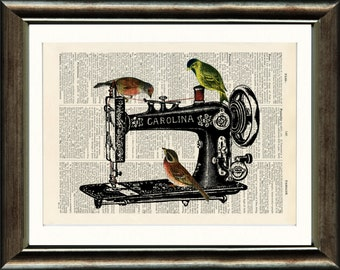 Sewing Machine with Birds - vintage image printed on a late 1800s Dictionary page Buy 3 get 1 Free