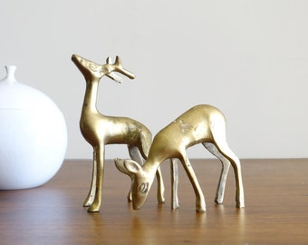 Vintage Brass Deer Figurines