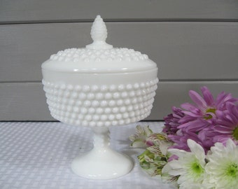 Milk Glass Candy Dish, Fenton Hobnail Candy Dish, Vintage Wedding