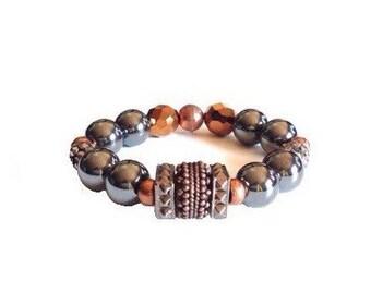 Copper beaded bracelet, hematite beaded bracelet, beaded stretch bracelet